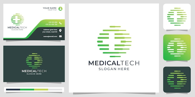技術コンセプトを備えたクリエイティブな医療ロゴライン技術とプラス医療のシルエットデザインロゴと名刺テンプレートを組み合わせたプレミアムベクトル