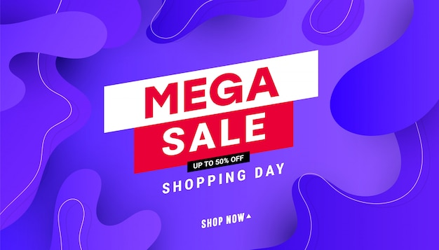 Creative mega sale discount banner template with wave liquid shape, line shapes on gradient background.