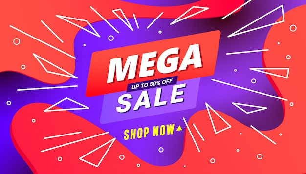 Creative mega sale discount banner template with wave liquid shape, line shapes on gradient lilac red background.