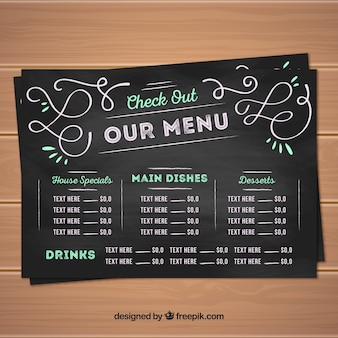 Design del menu creativo in stile lavagna