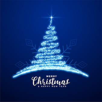 Creative merry christmas sparkling blue tree background