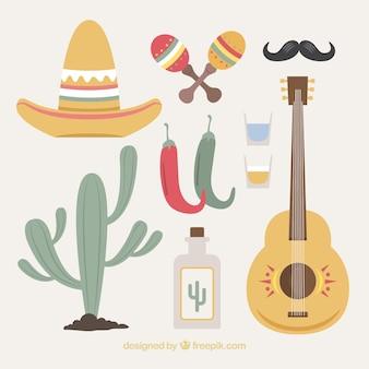 Creative mexico elements set