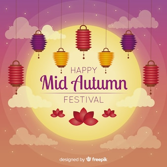 Creative mid autumn festival background concept