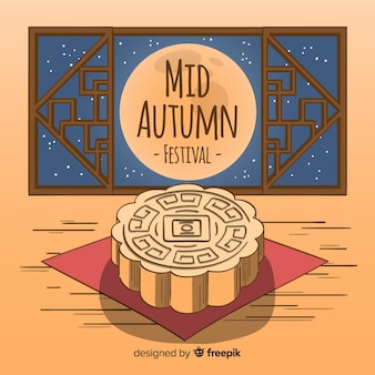 Creative mid autumn festival background in hand drawn style