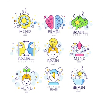 Creative mind original logo , creation and idea elements colorful  illustrations