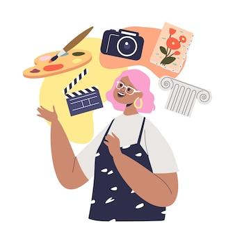 창의적인 사고방식: 예술적 성격 유형의 만화 여성 캐릭터 및 예술 취미: 사진, 영화, 그림 및 창의성. 평면 벡터 일러스트 레이 션
