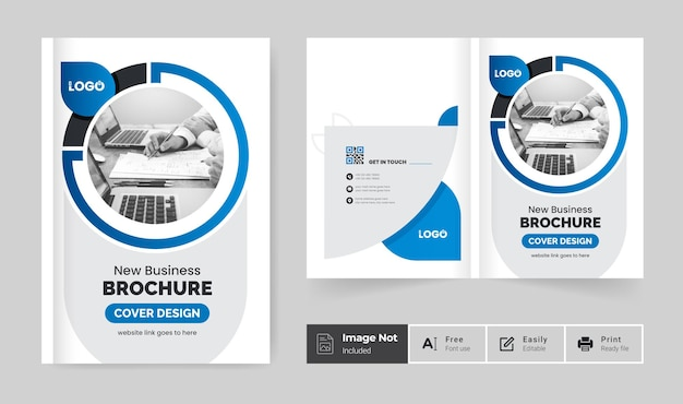 Creative minimal business brochure cover design template or bifold company profile annual report