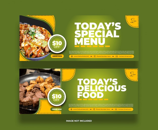Creative minimal special menu restaurant food banner for social media