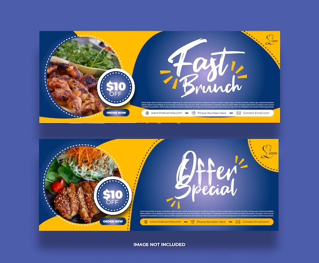 Creative minimal vector food restaurant banner for social media