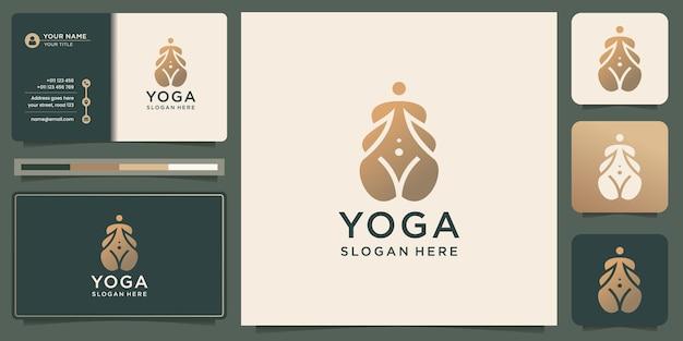 Креативный минималистичный дизайн йоги в форме силуэта. логотип медитации спа и визитная карточка.