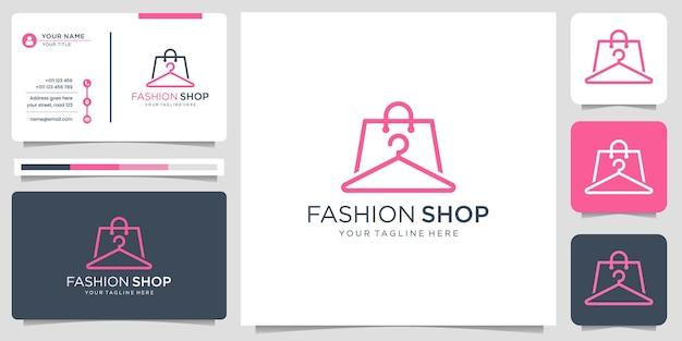Creative minimalism line art style fashion shop logo design with business card illustration.