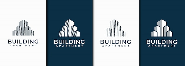 Creative minimalist building logo design with concept line art