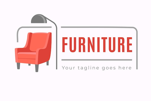 Creative minimalist furniture logo with text
