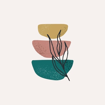 Creative minimalist hand painted illustrations for wall decoration modern abstract art