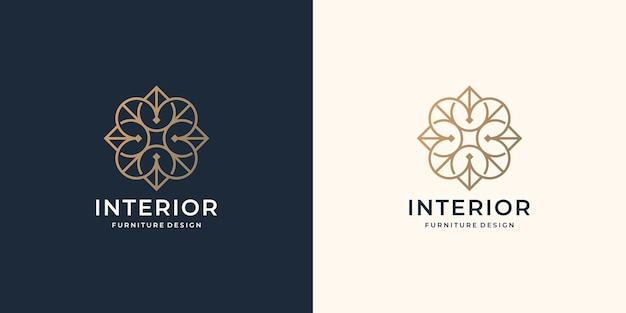 Creative minimalist interior logo design. luxury line art style for furniture store, abstract, gold.