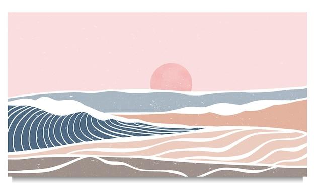 クリエイティブなミニマリストのモダンアートプリント。抽象的な海の波と山の現代的な美的背景の風景。海、スカイライン、波で。ベクトルイラスト