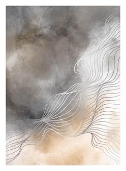クリエイティブなミニマリストのモダンなラインアートプリント。ダイナミックな波とラインで現代的な抽象的な背景。ベクトルイラスト