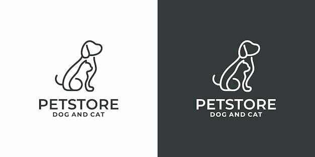 Creative minimalist mono line dog and pet