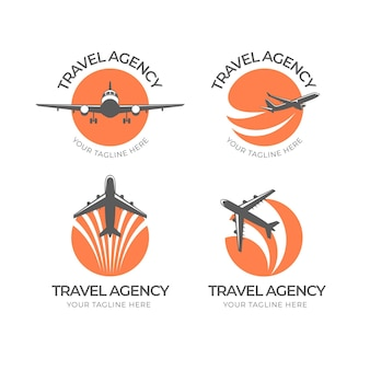 Creative minimalist travel logos set