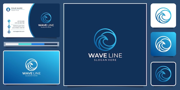 Creative minimalist wave line logo inspiration with modern gradient color and business card template