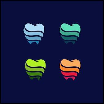 創造的なモダンな抽象的な健康ロゴデザインベクトルテンプレートカラフルな歯科医院ロゴタイプデザイン