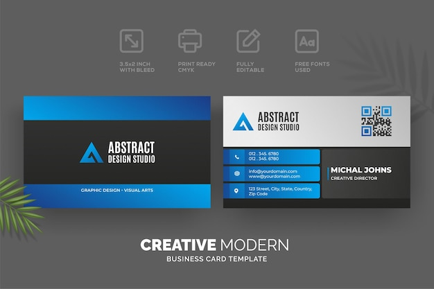 Creative modern business card template with blue and black details