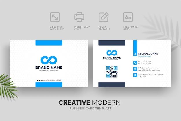 Креативный современный шаблон визитной карточки с синими деталями