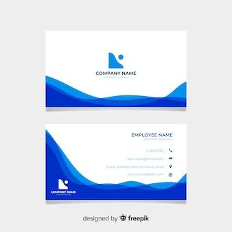 Креативный современный шаблон визитной карточки с синими волнами