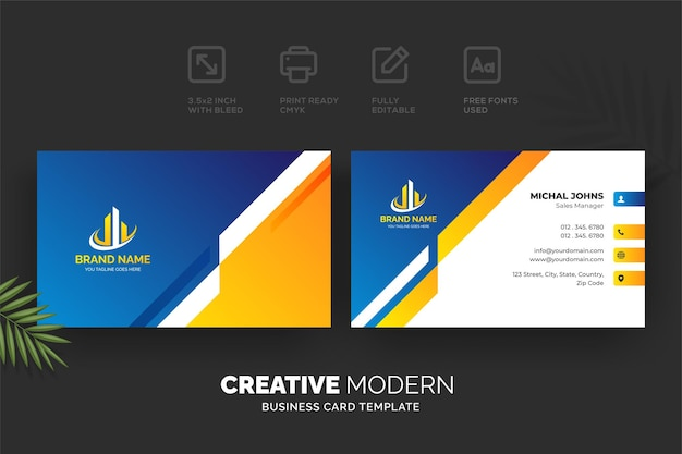 Creative modern business card template with blue and yellow details