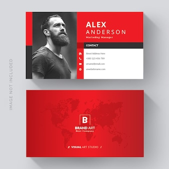 Креативный современный шаблон визитной карточки с красными деталями