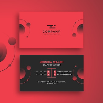 Creative modern business card vector template - red and black