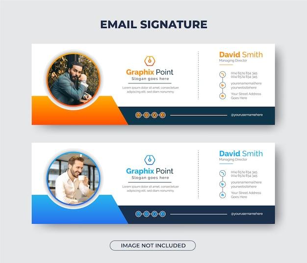 Креативный современный дизайн шаблона подписи электронного письма для бизнеса или обложка электронного письма и нижний колонтитул facebook