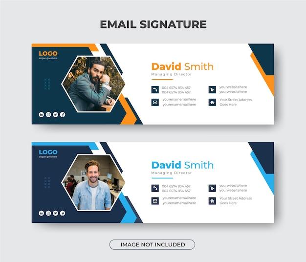 Креативный современный дизайн шаблона подписи электронного письма для бизнеса или нижний колонтитул электронного письма и персональный баннер в социальных сетях