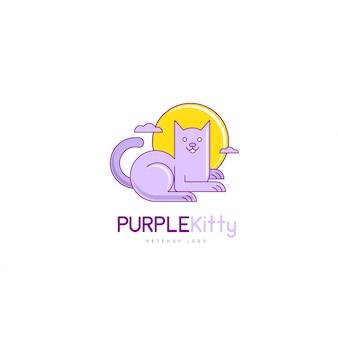 Creative modern cat logo vector in cartoon style for pet shop company