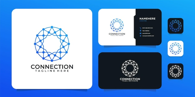 Creative modern connection digital technology logo design concept
