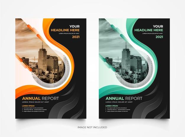 크리 에이 티브 현대 기업 연례 보고서 비즈니스 표지 템플릿 세트