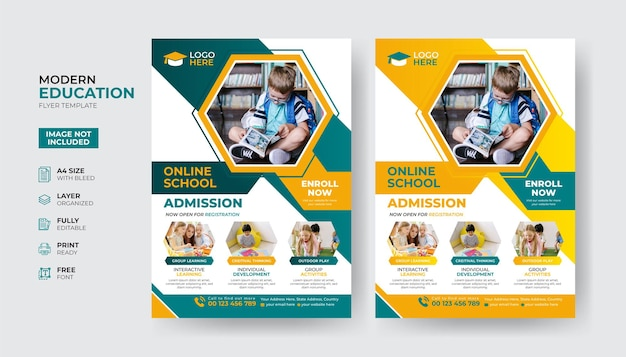 Creative and modern education admission flyer template