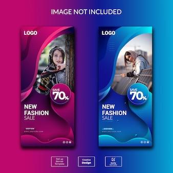 Creative modern fashion roll up banner template design