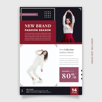 Creative and modern fashion sale promotion design vector flyer and brochure template with a4 size
