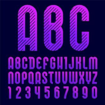 クリエイティブでモダンなフォント、ポップアート風のトレンディなアルファベット。