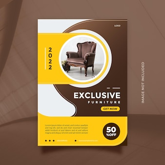 Creative and modern furniture sale promotion design vector flyer and brochure template with a4 size