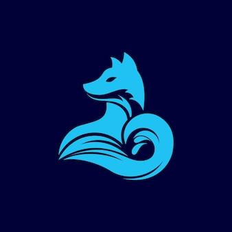 Креативная современная иллюстрация лиса с морской волной логотип знак значок дизайн вектор
