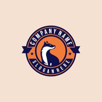 Творческие современные иллюстрации стоять лиса животное на круг штамп шаблон логотип знак значок дизайн вектор