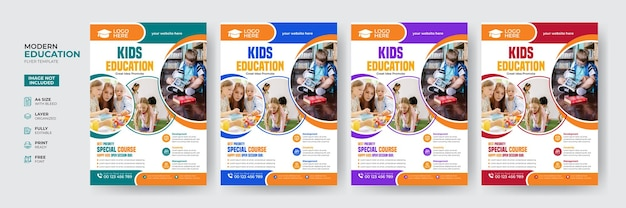 Creative and modern kids education admission flyer template
