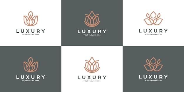 Creative modern lotus rose logo design bundle