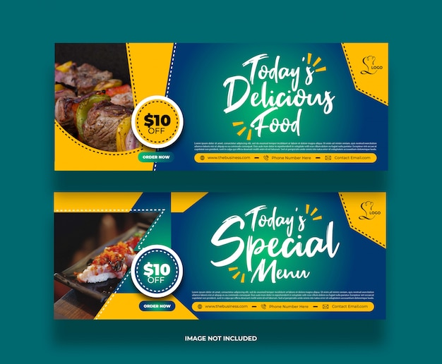 Creative modern minimal delicious food banner for social media