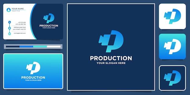 頭文字pとシルエットの形のカメラを備えたクリエイティブでモダンなプロダクションロゴ。