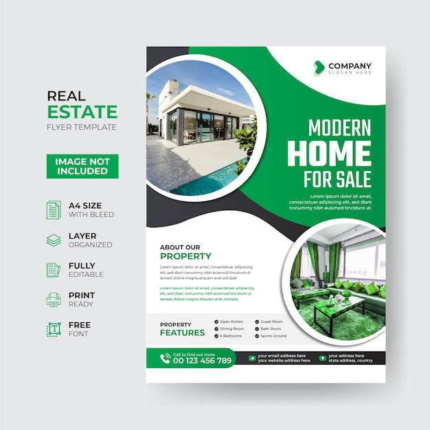 Creative and modern real estate flyer template