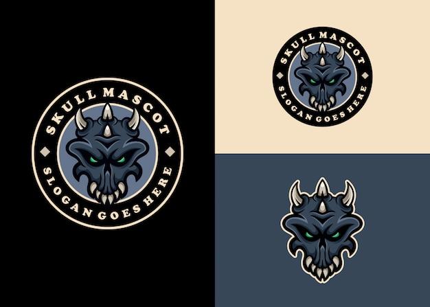Коллекция логотипов талисмана эмблемы творческого современного черепа