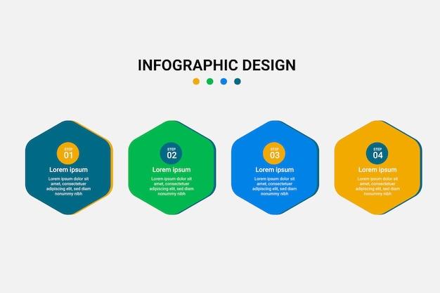 창조적 인 현대 타임 라인 차트 4 단계 인포 그래픽 디자인